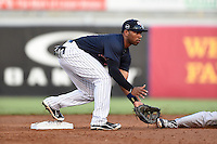 Tampa Yankees second baseman Angelo Gumbs (21) fields a throw on a stolen base during a game against the Daytona Tortugas on April 24, 2015 at George M. Steinbrenner Field in Tampa, Florida.  Tampa defeated Daytona 12-7.  (Mike Janes/Four Seam Images)