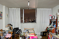 C-1209, Fernando Torres Salgado. The interior livingroom windows of apartments in the Chihuahua building of Tlatelolco. Mario Pani´s Tlatelolco, plaza de las 3 culturas, Mexico DF