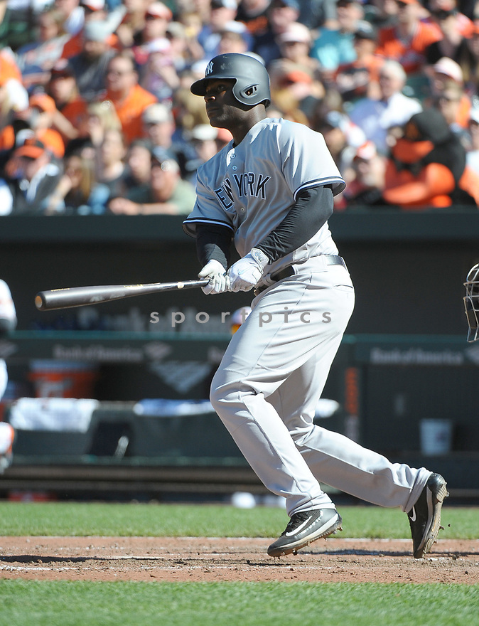 BALTIMORE, MD - April 9, 2017: Chris Carter #48 of the New York Yankees during a game against the Baltimore Orioles on April 9 2017 at Camden Yards in Baltimore, MD. The Yankees beat the Orioles 7-3.-(Chris Bernacchi/SportPics)