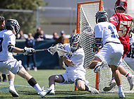Washington, DC - March 31, 2018: Georgetown Hoyas Nick Marrocco (1) makes a save during game between Denver and Georgetown at  Cooper Field in Washington, DC.   (Photo by Elliott Brown/Media Images International)