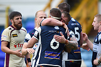 Josh Bainbridge and Lee Imiolek of Yorkshire Carnegie embrace at the final whistle. Greene King IPA Championship match, between Yorkshire Carnegie and Doncaster Knights on September 17, 2017 at Headingley Stadium in Leeds, England. Photo by: Patrick Khachfe / Onside Images