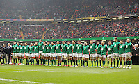 Pictured: The Irish team singing their national anthem Saturday 14 March 2015<br />