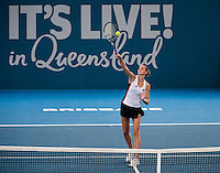 Karolina Pliskova of the Czech Republic in action on Day 5 of the Brisbane International at the Brisbane Tennis Centre, Brisbane, Queensland, Australia