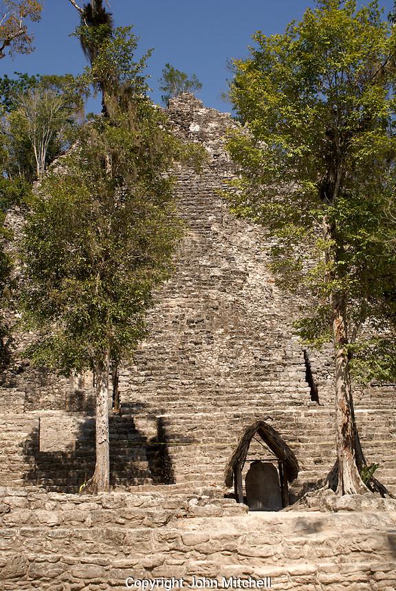 La Iglesia or Church pyramid in the Coba Group at the Mayan ruins of Coba, Quintana Roo, Mexico.