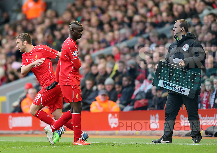 Mario Balotelli of Liverpool is replaced by Rickie Lambert of Liverpool  - Barclays Premier League - Liverpool vs Chelsea - Anfield Stadium - Liverpool - England - 8th November 2014  - Picture Simon Bellis/Sportimage