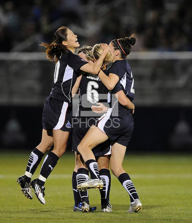 Washington Freedom midfielder Lori Lindsey (6) celebrates her goal with teammates Homare  Sawa (10) and Alex Singer (21). Boston Breakers defeated Washington Freedom 3-1   at The Maryland SoccerPlex, Saturday April 18, 2009.
