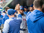 New York Mets shortstop Amed Rosario (1) celebrates with his teammates after scoring his team's first run of the day against the Washington Nationals at Nationals Park in Washington, D.C. on Sunday, September 23, 2018.<br /> Credit: Ron Sachs / CNP<br /> (RESTRICTION: NO New York or New Jersey Newspapers or newspapers within a 75 mile radius of New York City)