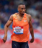 Matthew Hudson-Smith (Great Britain) competing in the Men's 400m Final during the Muller Grand Prix  IAAF Diamond League meeting at Alexander Stadium, Perry Barr, Birmingham.<br /> Picture by Alan Stanford +44 7915 056117<br /> 18/08/2018