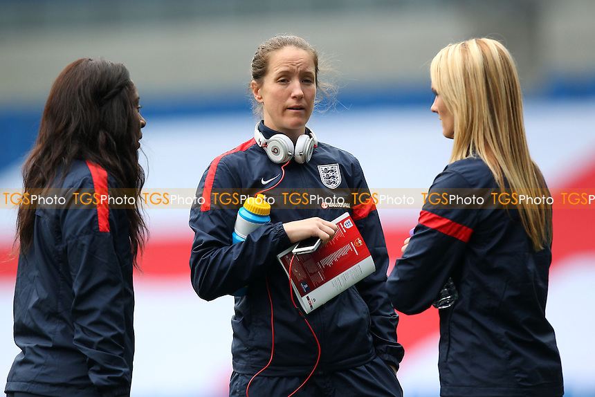 Casey Stoney of England (C) ahead of kick-off - England Women vs Montenegro Women - FIFA Womens World Cup 2015 Qualifying Group 6 Football at The Amex, Falmer Stadium, Brighton & Hove Albion FC - 05/04/14 - MANDATORY CREDIT: Gavin Ellis/TGSPHOTO - Self billing applies where appropriate - 0845 094 6026 - contact@tgsphoto.co.uk - NO UNPAID USE