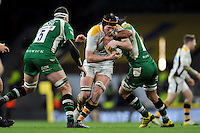 Kearnan Myall of Wasps takes on the London Irish defence. Aviva Premiership match, between London Irish and Wasps on November 28, 2015 at Twickenham Stadium in London, England. Photo by: Patrick Khachfe / JMP