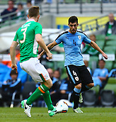 June 4th 2017, Aviva Stadium, Dublin, Ireland; International Friendly, Ireland versus Uruguay;  Alejandro Silva of Uruguay sees his path covered by Alex Pearce of Ireland