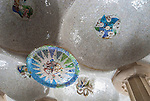 Mosaic Pattern at Gaudi's Parc Guell in Barcelona, Spain.<br />