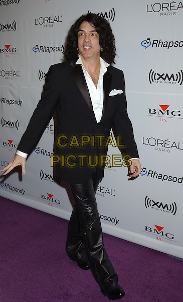PAUL STANLEY - KISS.2006 Clive Davis Pre-GRAMMY Party sponsored by L'Oreal, Rhapsody, and XM Satellite Radio held at the Beverly Hilton Hotel, Beverly Hills, California, USA..February 6th, 2006.Photo: Laura Farr/AdMedia/Capital Pictures.Ref: LF/ADM.full length black suit music.www.capitalpictures.com.sales@capitalpictures.com.© Capital Pictures.