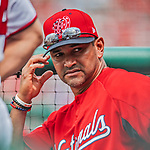 20 May 2018: Washington Nationals Manager Dave Martinez in the dugout during a game against the Los Angeles Dodgers at Nationals Park in Washington, DC. The Dodgers defeated the Nationals 7-2, sweeping their 3-game series. Mandatory Credit: Ed Wolfstein Photo *** RAW (NEF) Image File Available ***