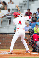 Oscar Mercado (4) of the Johnson City Cardinals at bat against the Elizabethton Twins at Cardinal Park on July 27, 2014 in Johnson City, Tennessee.  The game was suspended in the top of the 5th inning with the Twins leading the Cardinals 7-6.  (Brian Westerholt/Four Seam Images)