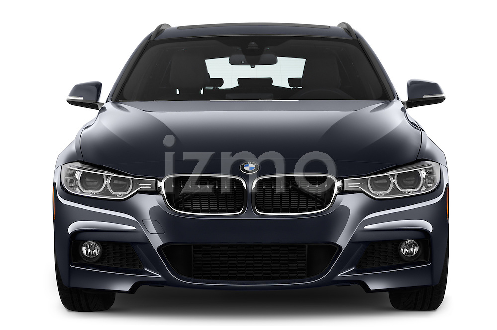 Car photography straight front view of a 2015 BMW 3 Series 328d xDrive Sports Wagon 5 Door Wagon Front View