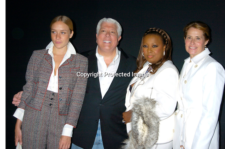Chloe Sevigny, Dennis Basso, Star Jones, and ..Lorraine Bracco ..at the Dennis Basso Fall/Winter 2004 Fur Fashion Show on ..May 26, 2004 at Cipriani 42nd Street . Photo by Robin Platzer, Twin Images