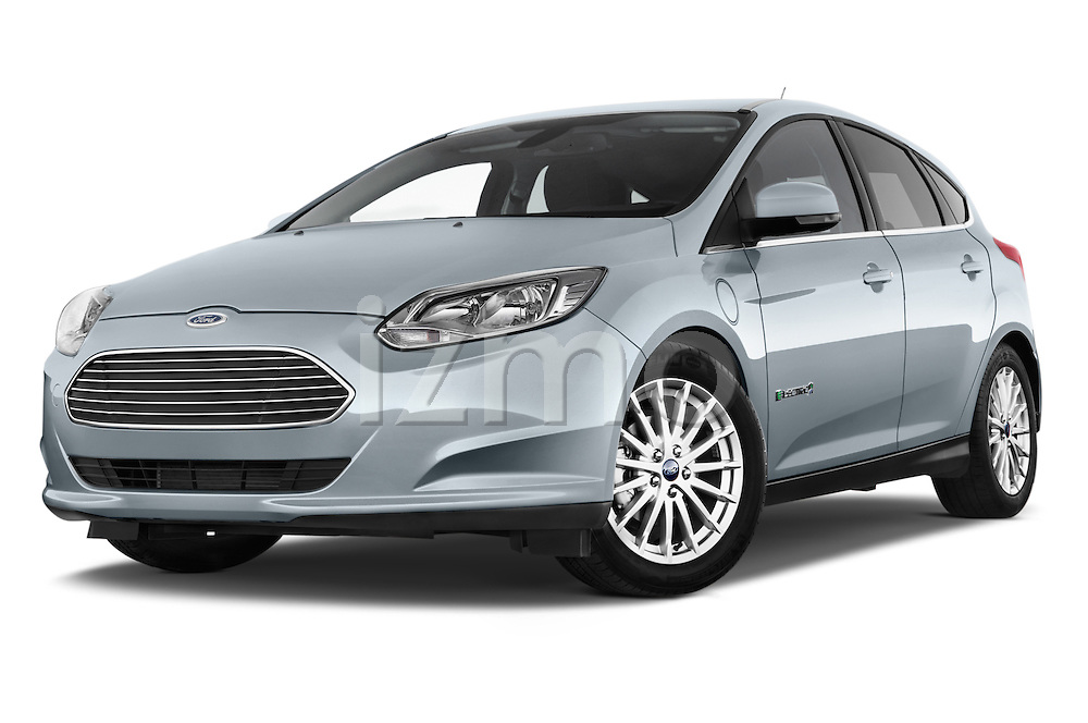 Stock pictures of low aggressive front three quarter view of a 2014 Ford FOCUS 5P 107kW Electric 142 ch 5 Door Hatchback 2WD Low Aggressive