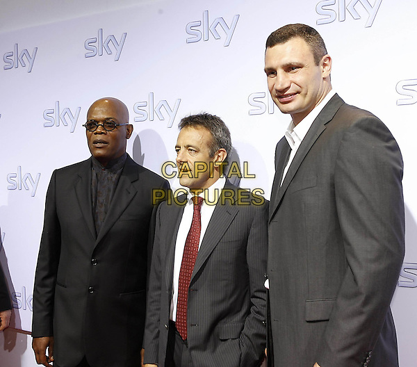 SAMUEL L. JACKSON, MARK WILLIAMS (CEO of Sky) & VITALI KLITSCHKO.Sky pay TV launch party, Schrannenhalle, Munich, Germany..July 3rd, 2009.half length black grey gray suit jacket glasses red tie .CAP/PPG/TF.©T. Furthmayr/People Picture/Capital Pictures