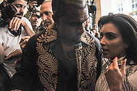 Kanye West and Kim Kardashian arrive at Balmain fashion show in Paris - France