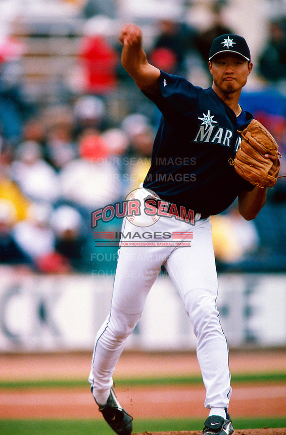 Mac Suzuki of the Seattle Mariners participates in a Major League Baseball Spring Training game during the 1998 season in Phoenix, Arizona. (Larry Goren/Four Seam Images)