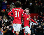 Juan Mata of Manchester United (r) celebrates scoring the first goal - FA Cup Fourth Round replay - Manchester Utd  vs Cambridge Utd - Old Trafford Stadium  - Manchester - England - 03rd February 2015 - Picture Simon Bellis/Sportimage