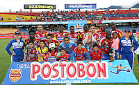 PASTO -COLOMBIA, 11-OCTUBRE-2014. Formacion del Deportivo Pasto contra Independiente Santa Fe. Accion de Juego entre los equipos Deportivo Pasto e Independiente Santa Fe  partido de la fecha 14  de la Liga Postobon II 2014 jugado en el estadio Libertad de la ciudad de Pasto./  Team of Deportivo Pasto agaisnt Independiente Santa Fe.Action Game between teams Deportivo Pasto and Independiente Santa Fe party dated 14 Postobon II League 2014 played in Liberty Stadium Pasto. Photo: VizzorImage  / Leonardo Castro / Stringer
