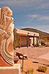 "Sculpture garden at Museum Hill in Santa Fe, New Mexico; sculpture by Rollie Grandbois called ""Prayer for the Future"""