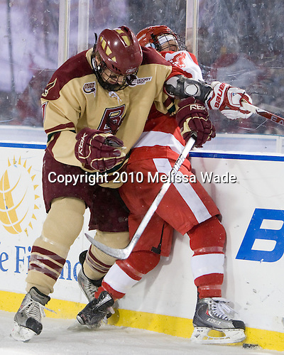 Carl Sneep (BC - 7), Chris Connolly (BU - 12) - The Boston University Terriers defeated the Boston College Eagles 3-2 on Friday, January 8, 2010, at Fenway Park in Boston, Massachusetts, as part of the Sun Life Frozen Fenway doubleheader.