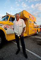 Aug. 29, 2013; Avon, IN, USA: NHRA former driver Don Prudhomme poses for a photo during the premiere of Snake & Mongoo$e at the Regal Shiloh Crossing Stadium 18. Mandatory Credit: Mark J. Rebilas-