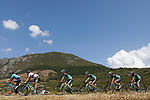 The peloton including World Champion Peter Sagan (SVK) and Bora-Hansgrohe team in action during Stage 14 of the La Vuelta 2018, running 171km from Cistierna to Les Praeres, Nava, Spain. 8th September 2018.<br /> Picture: Unipublic/Photogomezsport | Cyclefile<br /> <br /> <br /> All photos usage must carry mandatory copyright credit (&copy; Cyclefile | Unipublic/Photogomezsport)