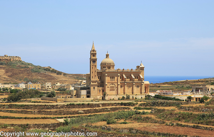 Romanesque architecture of basilica church, Ta Pinu, Gozo, Malta national pilgrimage shrine to Virgin Mary