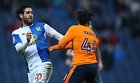 Blackburn Rovers' Danny Graham and Oldham Athletic's Kean Bryan<br /> <br /> Photographer Stephen White/CameraSport<br /> <br /> The EFL Sky Bet League One - Blackburn Rovers v Oldham Athletic - Saturday 10th February 2018 - Ewood Park - Blackburn<br /> <br /> World Copyright &copy; 2018 CameraSport. All rights reserved. 43 Linden Ave. Countesthorpe. Leicester. England. LE8 5PG - Tel: +44 (0) 116 277 4147 - admin@camerasport.com - www.camerasport.com