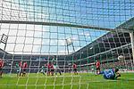 13.04.2019, Weser Stadion, Bremen, GER, 1.FBL, Werder Bremen vs SC Freiburg, <br /> <br /> DFL REGULATIONS PROHIBIT ANY USE OF PHOTOGRAPHS AS IMAGE SEQUENCES AND/OR QUASI-VIDEO.<br /> <br />  im Bild<br /> <br /> 2:0 Tor Theodor Gebre Selassie (Werder Bremen #23) Alexander Schwolow (SC Freiburg #01)<br />  Aufgenommen mit der Hintertor Remote Kamera<br /> <br /> Foto © nordphoto / Kokenge