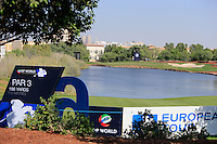 View from behind the 6th tee during the preview for the DP World Tour Championship at the Earth course,  Jumeirah Golf Estates in Dubai, UAE,  18/11/2015.<br /> Picture: Golffile | Thos Caffrey<br /> <br /> All photo usage must carry mandatory copyright credit (© Golffile | Thos Caffrey)