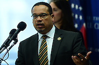 Washington, DC - May 24, 2016: U.S. Rep. Keith Ellison (D-MN) discusses Islamophobia and its impact on Muslims during a presser with Rep. Andre Carson at the National Press Club in the District of Columbia, May 24, 2016. Ellison and Carson are the only two Muslim members of Congress. (Photo by Don Baxter/Media Images International)