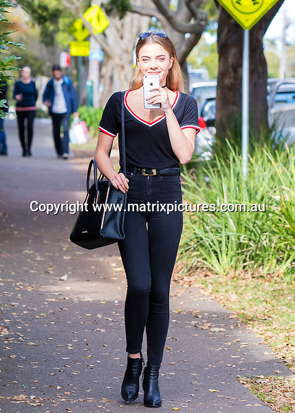 14 JULY 2017 SYDNEY AUSTRALIA<br /> WWW.MATRIXPICTURES.COM.AU<br /> <br /> EXCLUSIVE PICTURES<br /> <br /> Bachelor girl Olena Khamula  pictured visiting Sweaty Betty PR in Paddington. <br /> <br /> Note: All editorial images subject to the following: For editorial use only. Additional clearance required for commercial, wireless, internet or promotional use.Images may not be altered or modified. Matrix Media Group makes no representations or warranties regarding names, trademarks or logos appearing in the images.