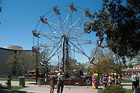 Occidental College kicked off a yearlong celebration of its 125th anniversary on Friday, April 20, 2012 with an 1887-style carnival in the Quad, complete with Ferris wheel.<br />