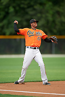 Baltimore Orioles Michael Almanzar (17) during a minor league Spring Training intrasquad game on April 2, 2016 at Buck O'Neil Complex in Sarasota, Florida.  (Mike Janes/Four Seam Images)