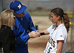 WNC's Meghan Hospodka gets treatment before a college softball game against Snow College at Edmonds Sports Complex in Carson City, Nev., on Friday, March 6, 2014. <br /> Photo by Cathleen Allison/Nevada Photo Source