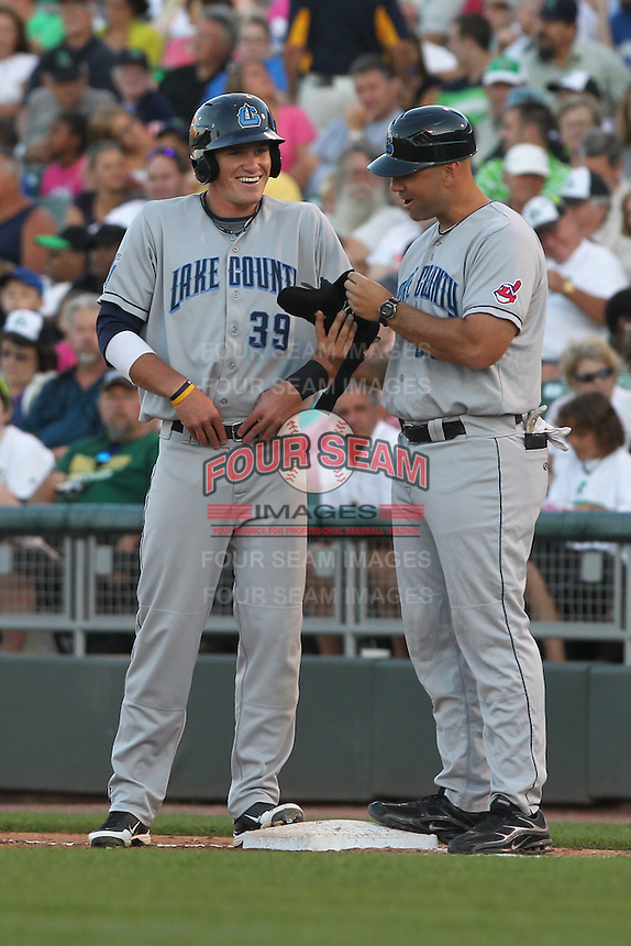 Lake County Captains outfielder Jordan Smith #39 smiles during a game against the Dayton Dragons at Fifth Third Field on June 25, 2012 in Dayton, Ohio. Lake County defeated Dayton 8-3. (Brace Hemmelgarn/Four Seam Images)