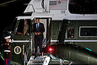 United States President Barack Obama walks off Marine One on the South Lawn of the White House in Washington, D.C., U.S., on Tuesday, October 25, 2016. President Obama is returning from a campaign and fundraising trip to California. <br /> Credit: Andrew Harrer / Pool via CNP /MediaPunch