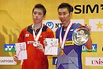 (L to R) Kenichi Tago (JPN), Lee Chong Wei (MAS), SEPTEMBER 22, 2013 - Badminton : Yonex Open Japan 2013 Men's Singles vicrory ceremony at Tokyo Metropolitan Gymnasium, Tokyo, Japan. (Photo by Yusuke Nakanishi/AFLO SPORT) [1090]
