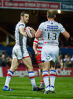 Picture by Allan McKenzie/SWpix.com - 17/04/2015 - Rugby League - Ladbrokes Challenge Cup - Wakefield Trinity Wildcats v Halifax RLFC - Rapid Solicitors Stadium, Wakefield, England - Wakefield's Craig Hall is congratulated on scoring.