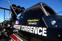 Sept. 21, 2013; Ennis, TX, USA: NHRA top fuel dragster driver Steve Torrence during the Fall Nationals at the Texas Motorplex. Mandatory Credit: Mark J. Rebilas-