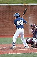 Clayton Nestor (23) of the Wingate Bulldogs at bat against the Concord Mountain Lions at Ron Christopher Stadium on February 1, 2020 in Wingate, North Carolina. The Bulldogs defeated the Mountain Lions 8-0 in game one of a doubleheader. (Brian Westerholt/Four Seam Images)