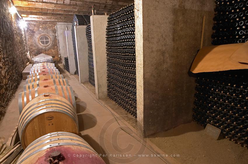 Clos Bagatelle St Chinian. Languedoc. Barrel cellar. Bottle cellar. France. Europe. Bottle.