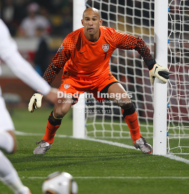 RUSTENBURG, SOUTH AFRICA - JUNE 12:  United States goalkeeper Tim Howard in action during a 2010 FIFA World Cup soccer match against England June 12, 2010 in Rustenburg, South Africa.  NO mobile use.  Editorial ONLY.  (Photograph by Jonathan P. Larsen)