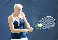 Florida International University tennis player Karyn Guttormsen plays against the University of Pennsylvania.  FIU won the match 4-3 on March 9, 2012 at Miami, Florida. .