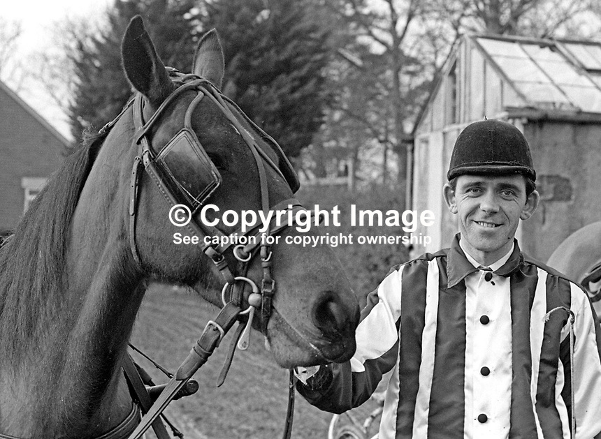 Jack Hewitt, Cusick Street, Belfast, N Ireland, and the horse with which he competes in sulky racing aka harness racing.  February 1968. 196802000094JH1<br /> <br /> Copyright Image from Victor Patterson, 54 Dorchester Park, Belfast, UK, BT9 6RJ<br /> <br /> t: +44 28 9066 1296<br /> m: +44 7802 353836<br /> vm +44 20 8816 7153<br /> <br /> e1: victorpatterson@me.com<br /> e2: victorpatterson@gmail.com<br /> <br /> www.victorpatterson.com<br /> <br /> IMPORTANT: Please see my Terms and Conditions of Use at www.victorpatterson.com